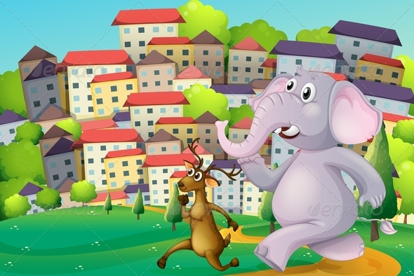 GraphicRiver A Deer and an Elephant Running at the Hilltop 7988531