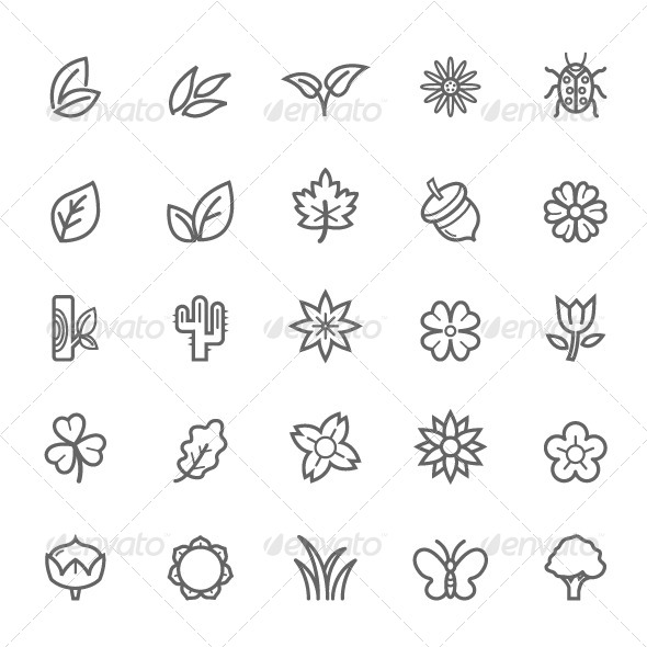 GraphicRiver 25 Outline Stroke Natural Icons 7988534