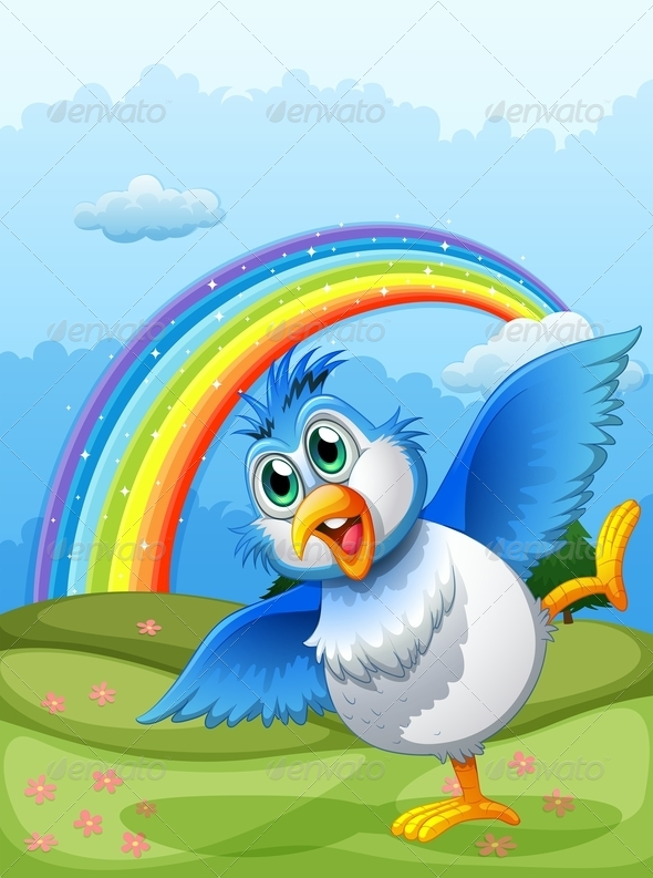 GraphicRiver A Cute Bird at the Hilltop with a Rainbow 7988549