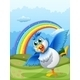 A Cute Bird at the Hilltop with a Rainbow  - GraphicRiver Item for Sale