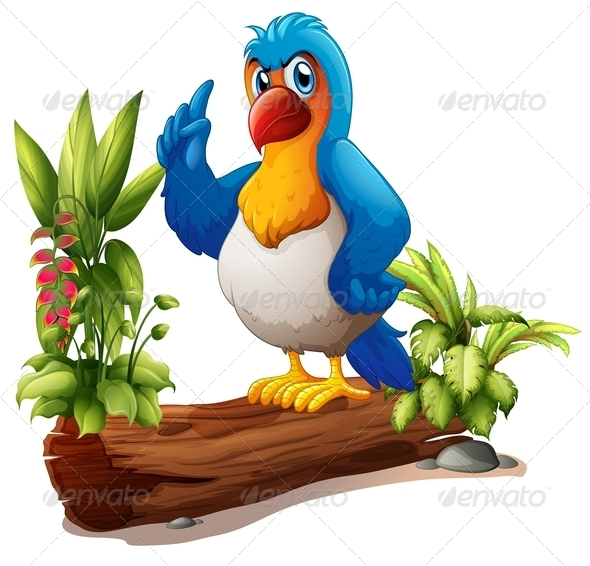 GraphicRiver A Parrot Above the Trunk with Plants 7988551