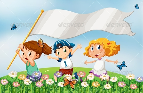 GraphicRiver Three Kids at the Hilltop Running with Empty Banner 7988554