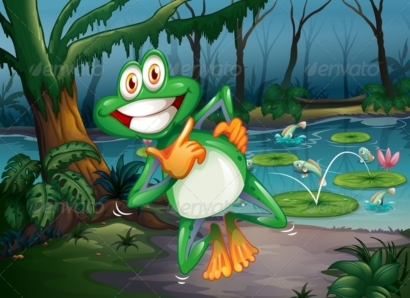GraphicRiver A Forest with a Playful Frog and Fish at the Pond 7988578