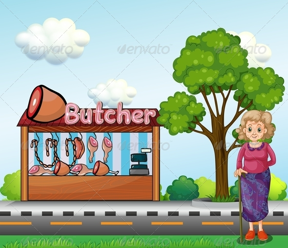 GraphicRiver Old Woman Near a Butcher House 7988589