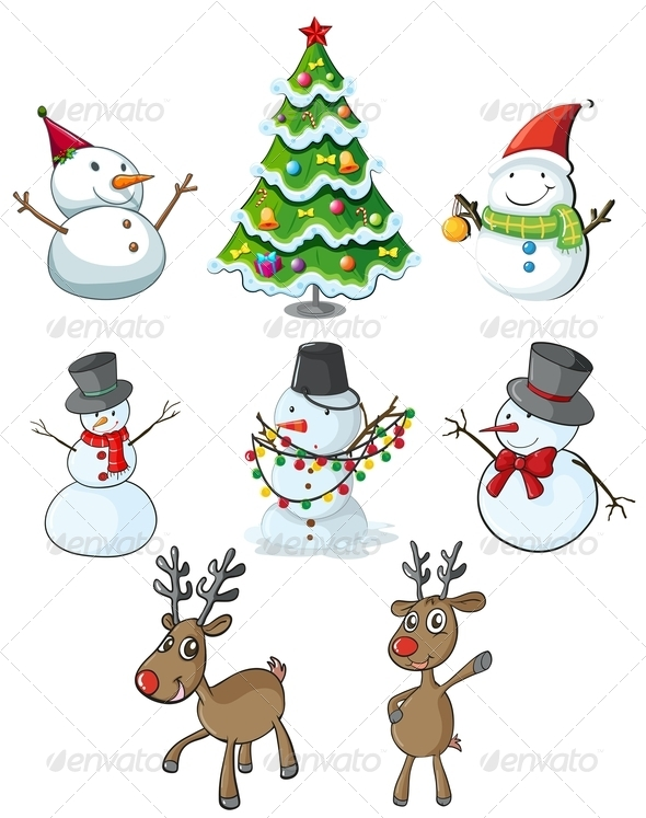 GraphicRiver Snowmen Reindeers and a Christmas Tree 7988593