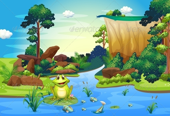GraphicRiver Frog Playing at the River Near the Cliff 7988597