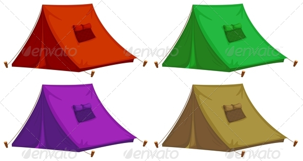 GraphicRiver Four Colorful Tents 7988627