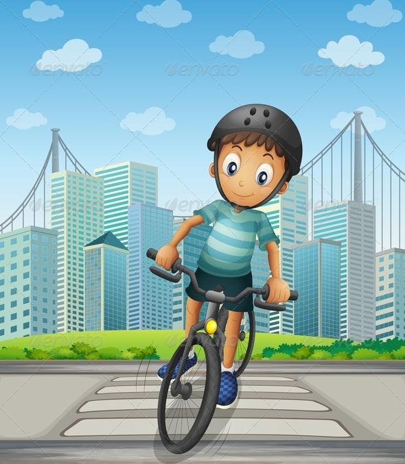 GraphicRiver Boy Biking in the City 7988629