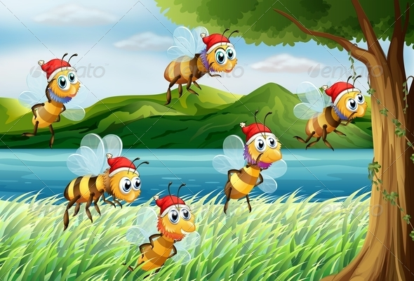 GraphicRiver A Group of Bees Going to a Tree at the Riverbank 7988634
