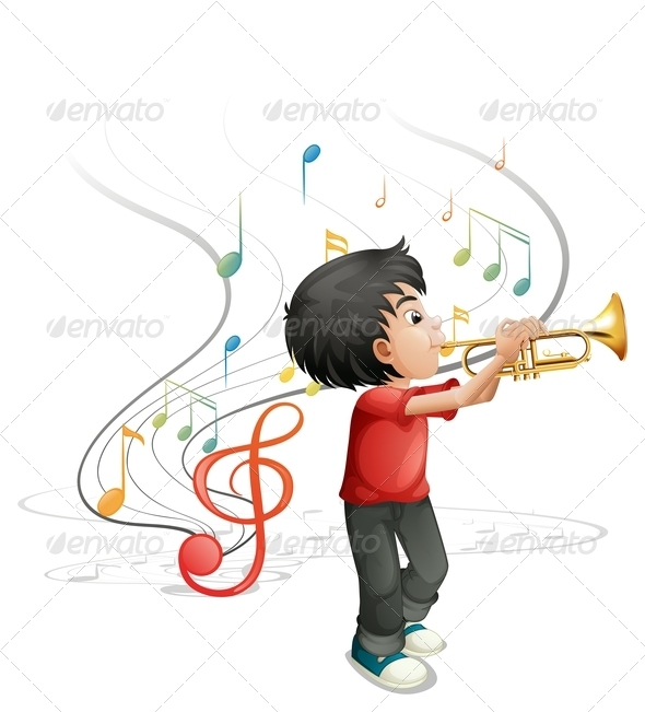 GraphicRiver Talented Young Boy Playing the Trumpet 7988655