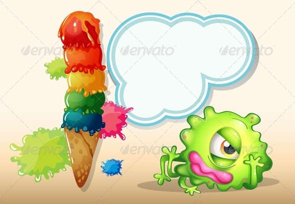 GraphicRiver Tired Green One-Eyed Monster Near the Icecream 7988702