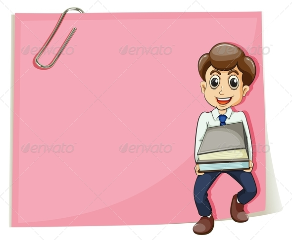 GraphicRiver Pink Empty Paper with a Businessman 7988759
