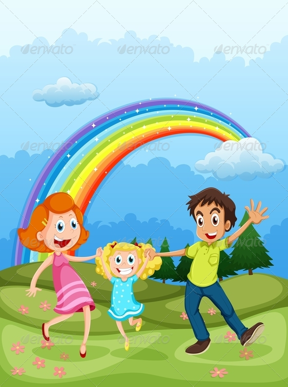 GraphicRiver A Family at the Hilltop and a Rainbow in the Sky 7988906
