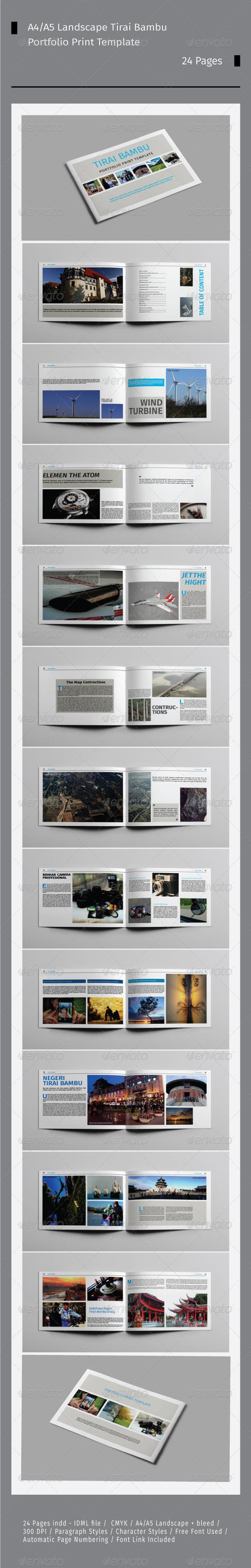 GraphicRiver A4 A5 Landscape Tirai Bambu Portfolio 7988909