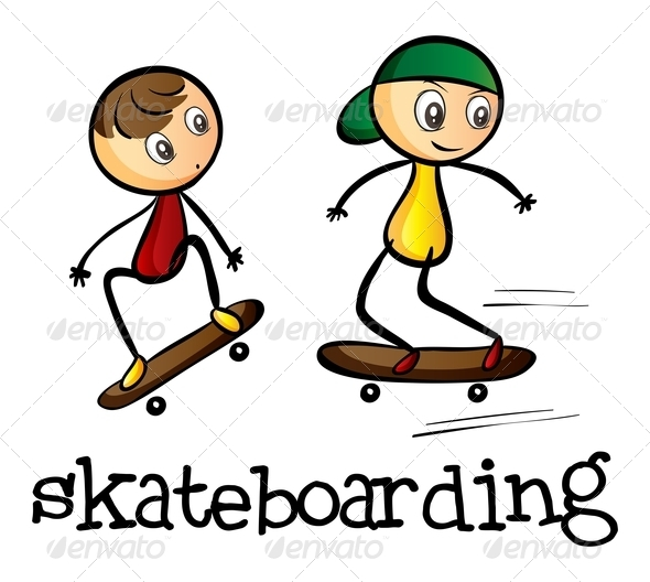 GraphicRiver Two Boys Skateboarding 7988916