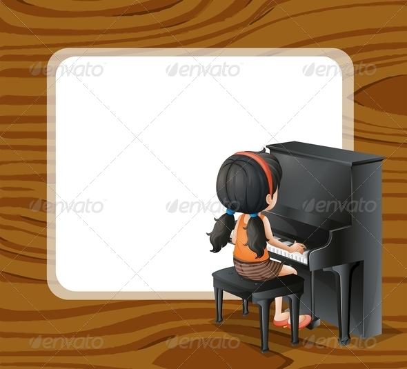 An Empty Template Beside the Girl Playing Piano