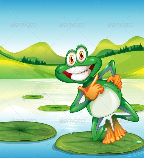 GraphicRiver A Happy Frog Standing Above the Waterlily 7988922