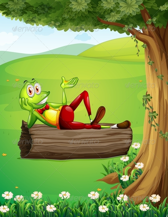 GraphicRiver A Frog Relaxing Above the Trunk Under the Tree 7988938