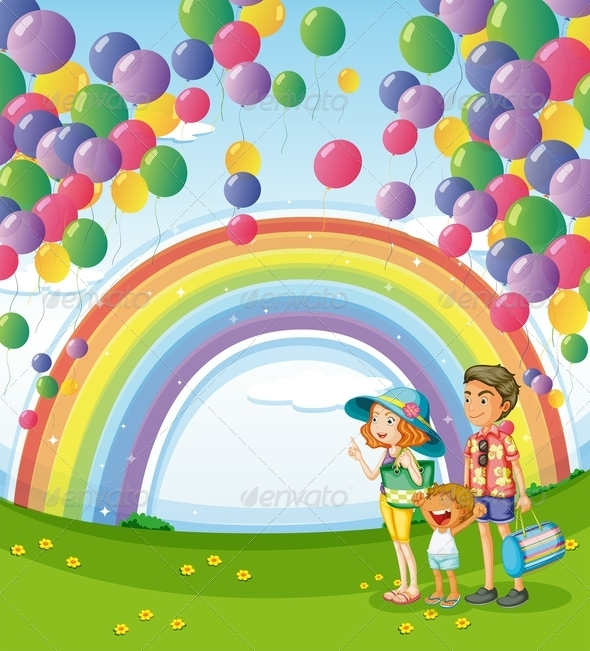 GraphicRiver A Family Strolling with a Rainbow and Floating Balloons 7988939