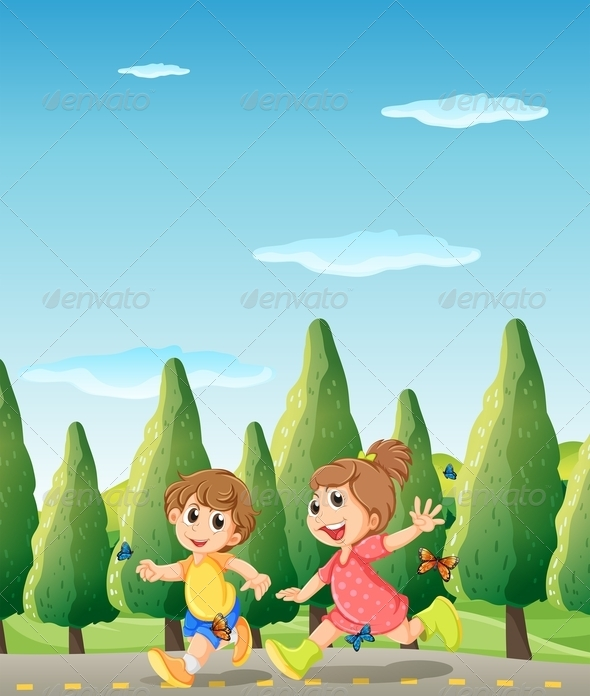 Two Cute Kids Running at the Road