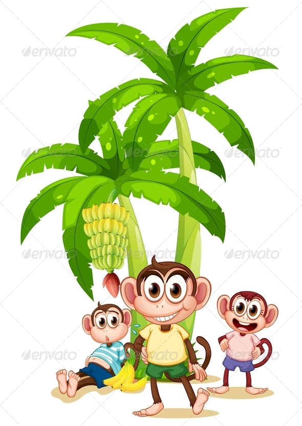 GraphicRiver Three Monkeys Near the Banana Plants 7988947
