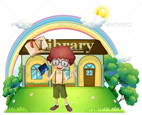 GraphicRiver Boy in Front of a Library on a Hilltop 7988957