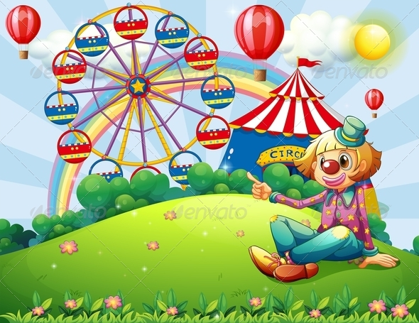 GraphicRiver A Clown at the Hilltop with a Carnival and a Rainbow 7988969