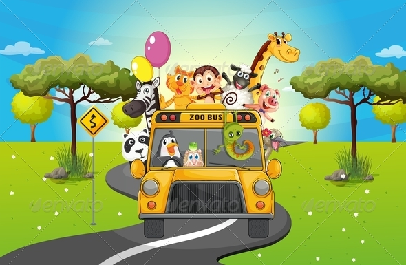 GraphicRiver Group of Happy Animals Travelling 7988997