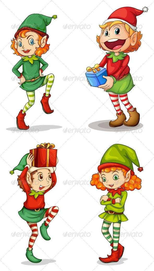 GraphicRiver Four Christmas Elves 7989062