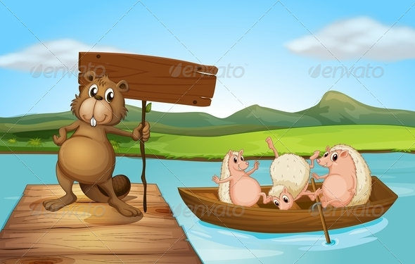 GraphicRiver Beaver and Hedgehogs at the River 7989071