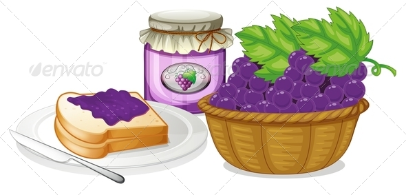 GraphicRiver Grapes Jam and Sandwich 7989084