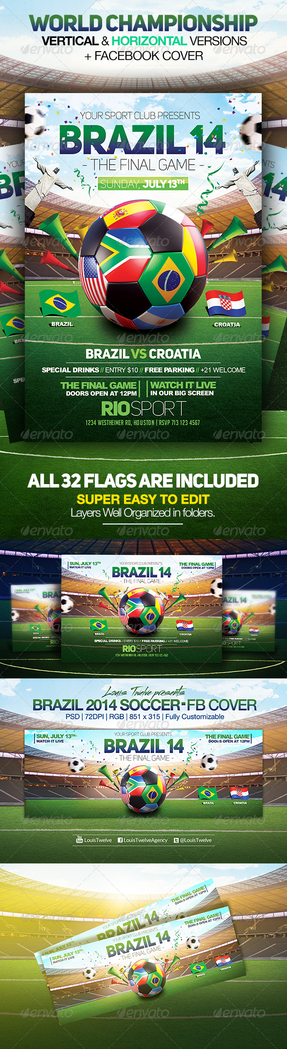 GraphicRiver World Championship 2014 Flyers & FB Cover V2 7989088
