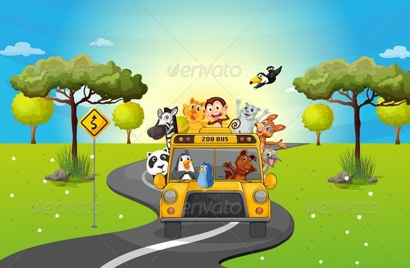 GraphicRiver A Zoo Bus Travelling Loaded with Animals 7989103