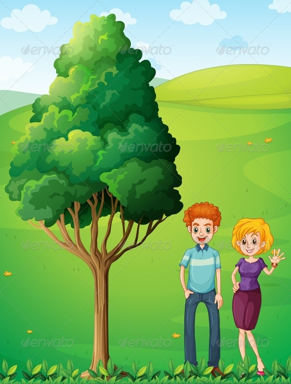 GraphicRiver A Couple at the Hilltop Standing Near the Tree 7989123