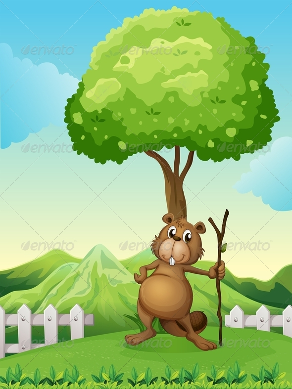 GraphicRiver Beaver with Stick Under Tree 7989134