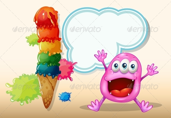 GraphicRiver Happy Monster with Icecream 7989143