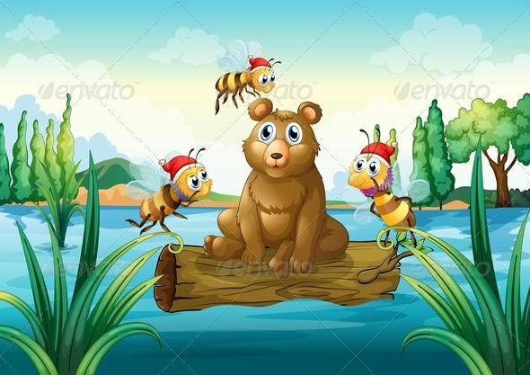 GraphicRiver A Bear Riding on a Trunk Floating in the River 7989172