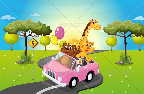 GraphicRiver A Pink Car Travelling with Animals 7989180