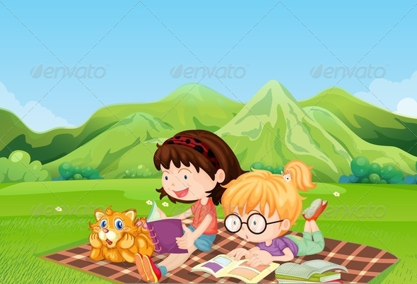 GraphicRiver Girls Reading at the Field 7989208