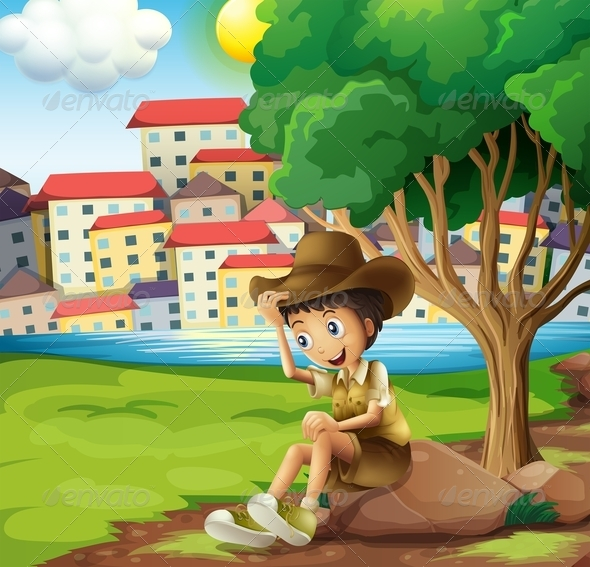 GraphicRiver A Young Explorer Sitting Above the Rock 7989227