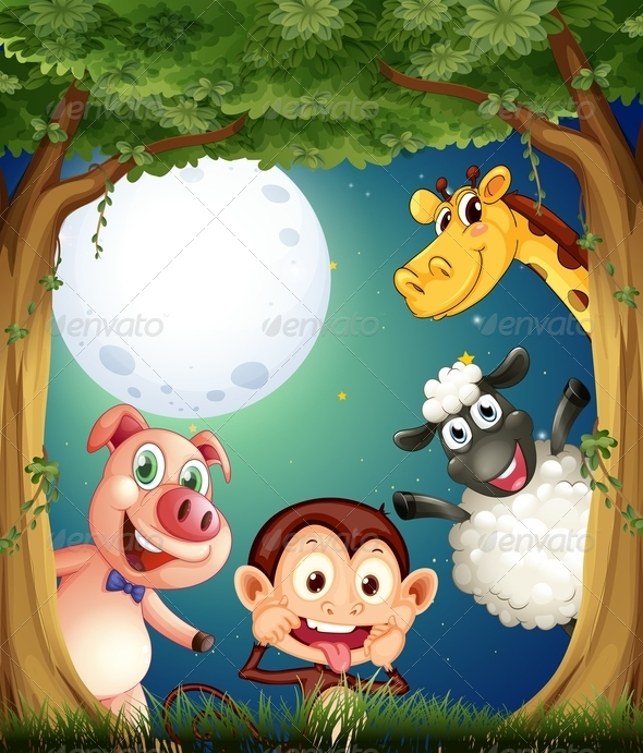 GraphicRiver Animals Playing in the Forest at Night 7989260