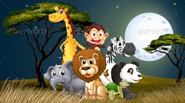 GraphicRiver A Group of Playful Animals Under the Bright Full Moon 7989266