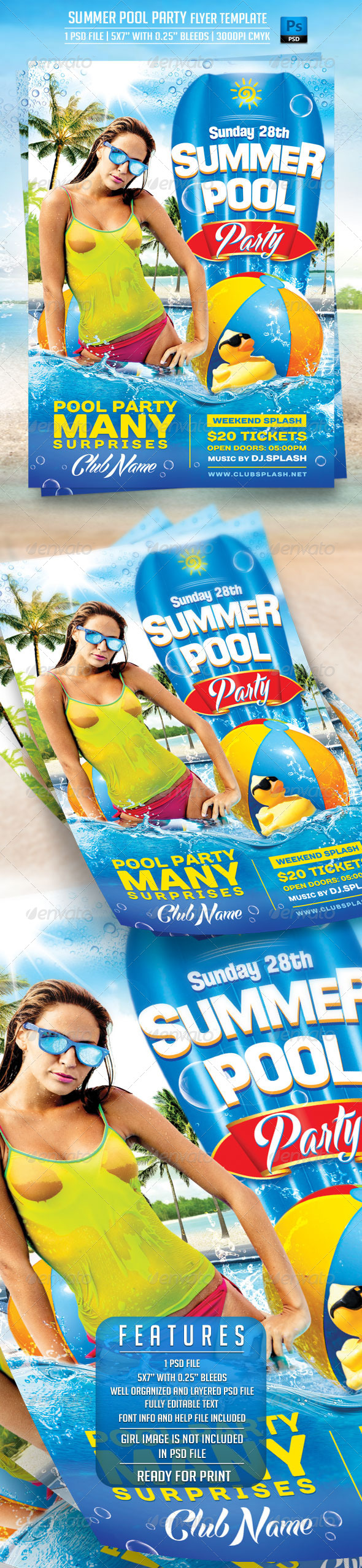 GraphicRiver Summer Pool Party Flyer Template 7989275