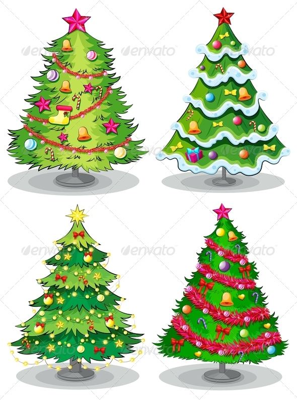 GraphicRiver Four Decorated Christmas Trees 7989294