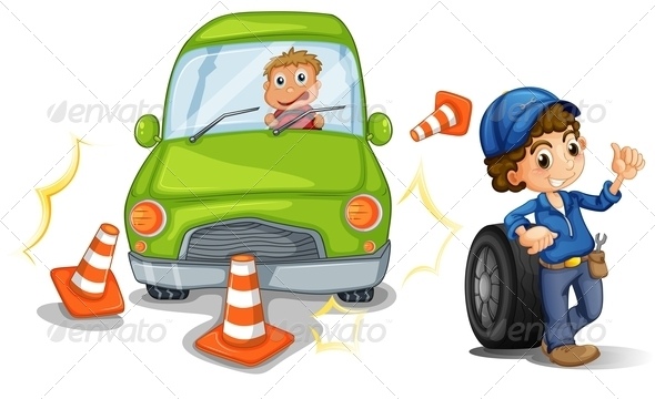 GraphicRiver A Car Bumping the Traffic Cones 7989314