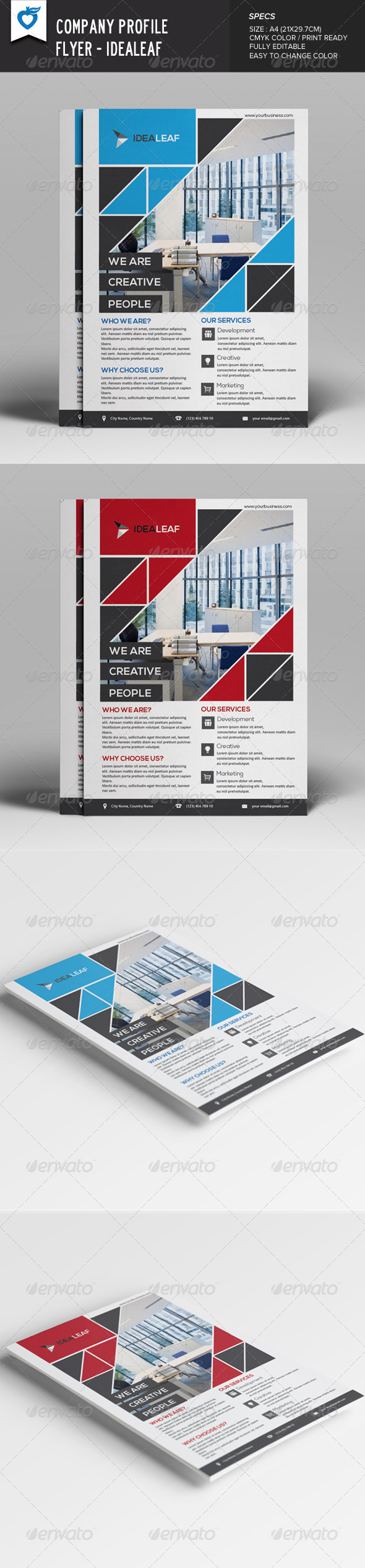 GraphicRiver Company Profile Flyer IdeaLeaf 7989324
