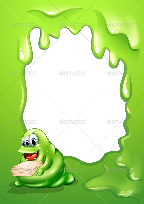 GraphicRiver Slime Border with Busy Monster 7989327