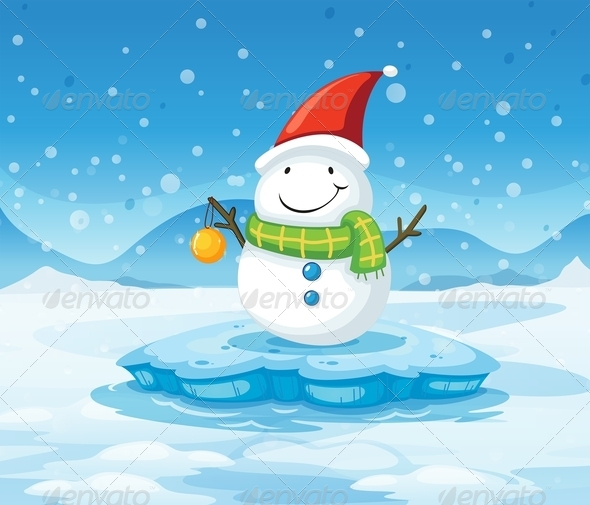 GraphicRiver A Snowman Wearing Santa s Red Hat 7989332
