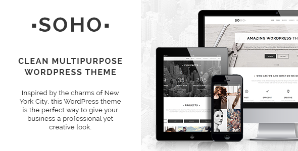 Soho is multi-purpose, clean, creative, retina ready, responsive WordPress theme ideal for creative use, photography, portfolio showcase, modern businesses, ag