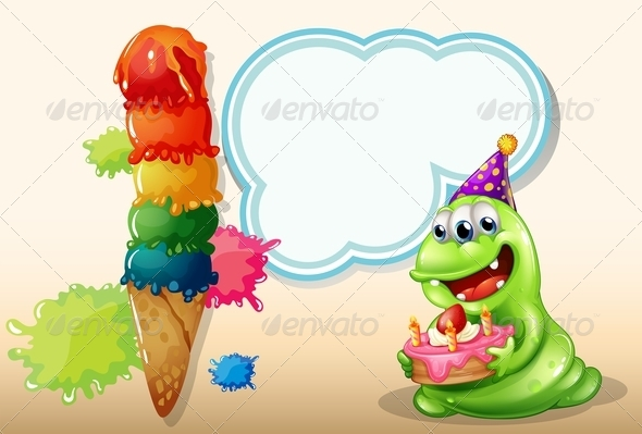 GraphicRiver A Happy Monster Holding a Cake Near the Big Icecream 7989342